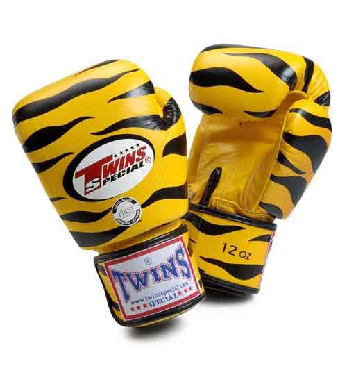 Twins Tiger Boxing Gloves- Yellow Black - Premium Leather