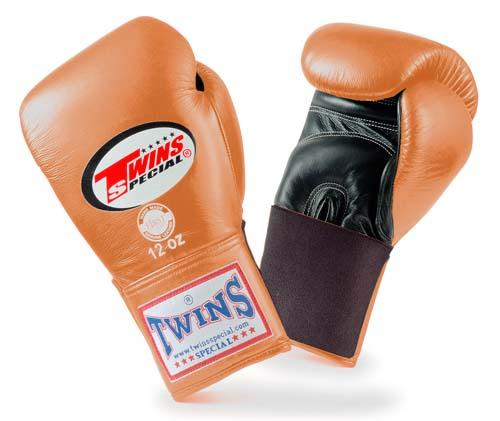 Twins Special Boxing Gloves- Dual Colors - Black - Brown - Premium Leather w/ Elastic