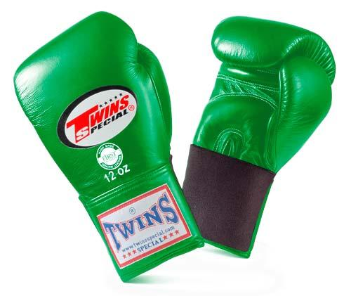 Twins Special Green Boxing Gloves- Premium Leather w/ Elastic