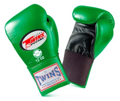 Twins Special Boxing Gloves- Dual Colors - Black - Green - Premium Leather w/ Elastic