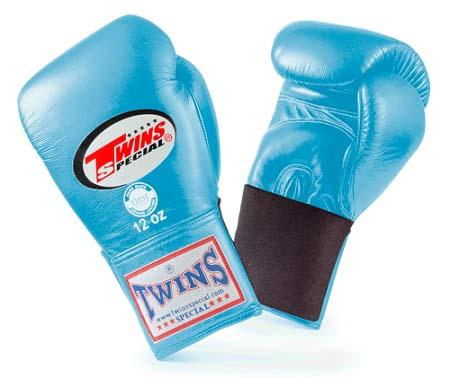 Twins Special Light Blue Boxing Gloves- Premium Leather w/ Elastic