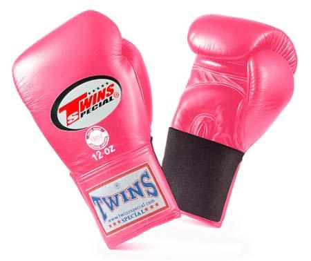 Twins Special Pink Boxing Gloves- Premium Leather w/ Elastic