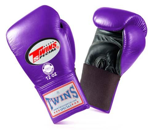 Twins Special Boxing Gloves- Dual Colors - Black - Purple - Premium Leather w/ Elastic