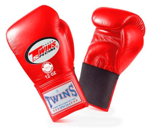 Twins Special Red Boxing Gloves- Premium Leather w/ Elastic