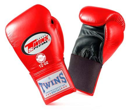 Twins Special Boxing Gloves- Dual Colors - Black - Red - Premium Leather w/ Elastic