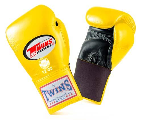 Twins Special Boxing Gloves- Dual Colors - Black - Yellow - Premium Leather w/ Elastic