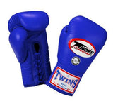 Twins Boxing Gloves - Blue - Premium Leather w/ Laceup
