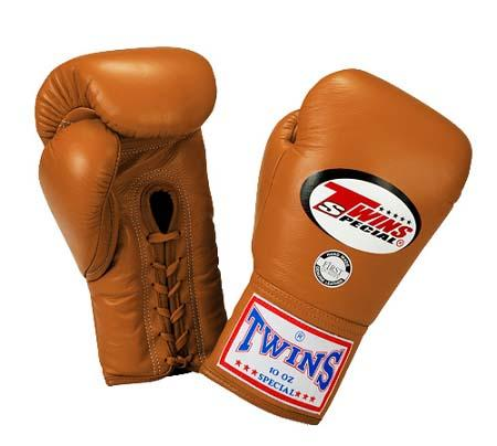 Twins Boxing Gloves - Brown - Premium Leather w/ Laceup