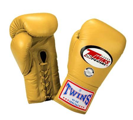 Twins Boxing Gloves - Gold - Premium Leather w/ Laceup