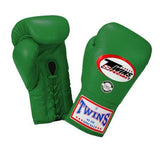 Twins Boxing Gloves - Green - Premium Leather w/ Laceup