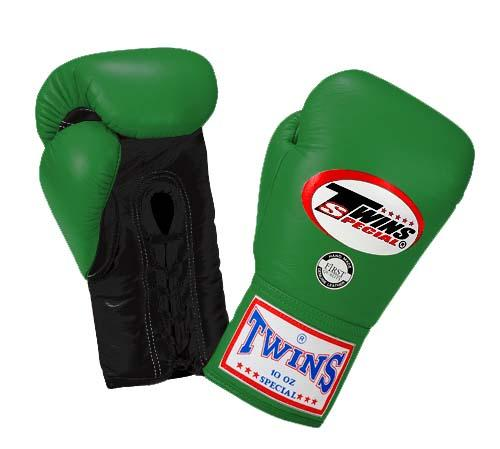 Twins Boxing Gloves - Dual Color - Black Green - Premium Leather w/ Laceup