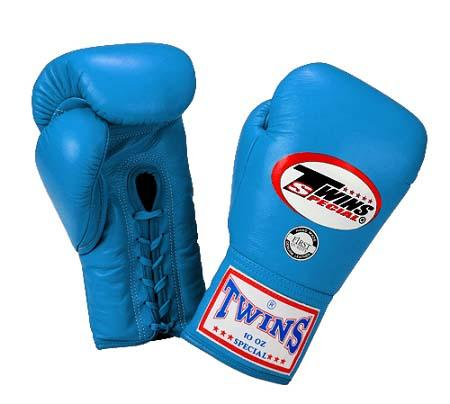 Twins Boxing Gloves - Light Blue - Premium Leather w/ Laceup