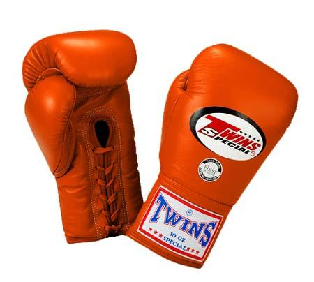 Twins Boxing Gloves - Orange - Premium Leather w/ Laceup