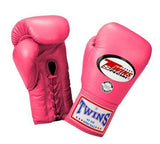 Twins Boxing Gloves - Pink - Premium Leather w/ Laceup