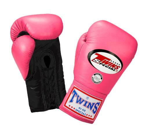 Twins Boxing Gloves - Dual Color - Black Pink - Premium Leather w/ Laceup