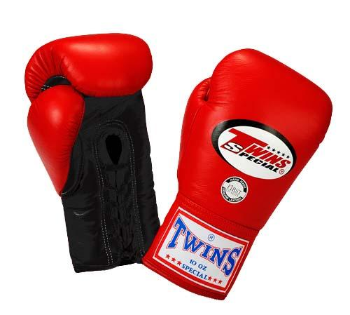 Twins Boxing Gloves - Dual Color - Black Red - Premium Leather w/ Laceup