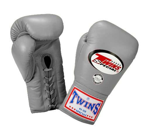 Twins Boxing Gloves - Silver - Premium Leather w/ Laceup