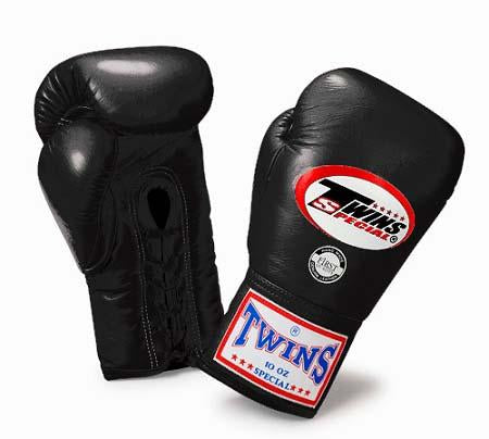 Twins Boxing Gloves - Black - Premium Leather w/ Laceup