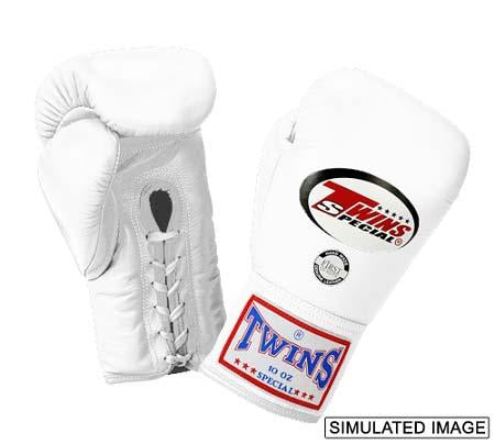 Twins Boxing Gloves - White - Premium Leather w/ Laceup