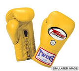 Twins Boxing Gloves - Yellow - Premium Leather w/ Laceup