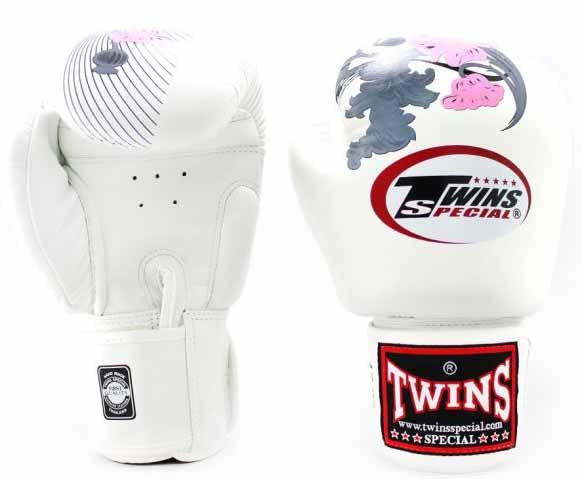 Twins Pink-White Signature Boxing Gloves - Velcro Wrist - Image 1