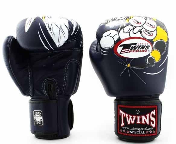 Twins White-Navy Signature Boxing Gloves - Velcro Wrist - Image 1