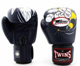 Twins White-Navy Signature Boxing Gloves - Velcro Wrist