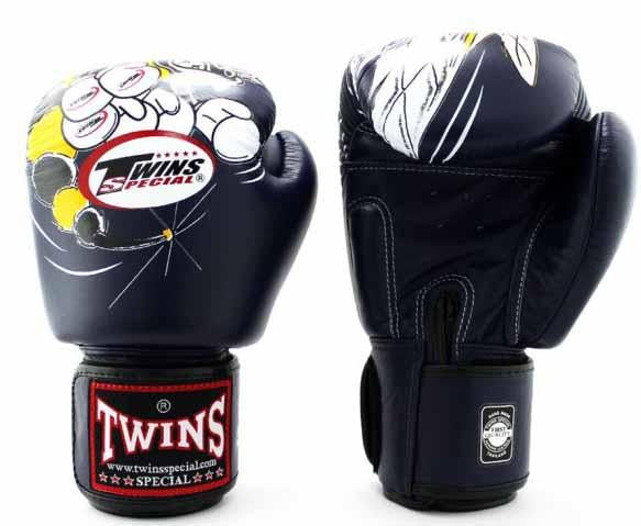 Twins White-Navy Signature Boxing Gloves - Velcro Wrist - Image 2
