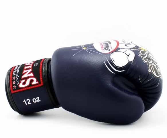 Twins White-Navy Signature Boxing Gloves - Velcro Wrist - Image 3