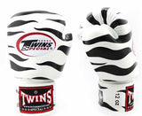 Twins Black-White Signature Boxing Gloves - Velcro Wrist - Image 2