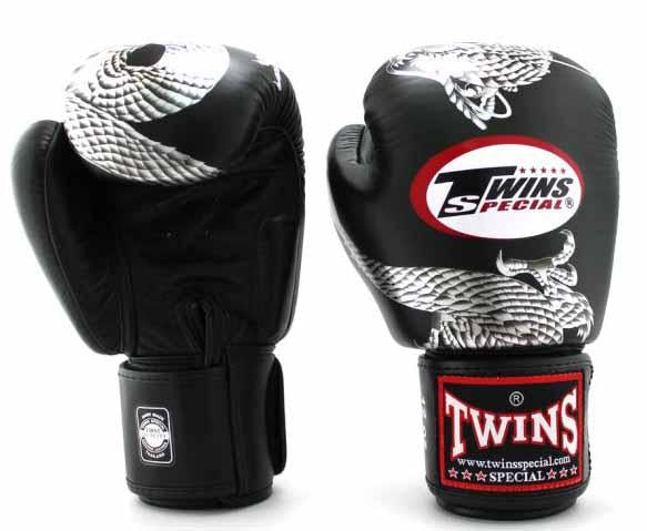Twins Silver-Black Signature Boxing Gloves - Velcro Wrist - Image 1