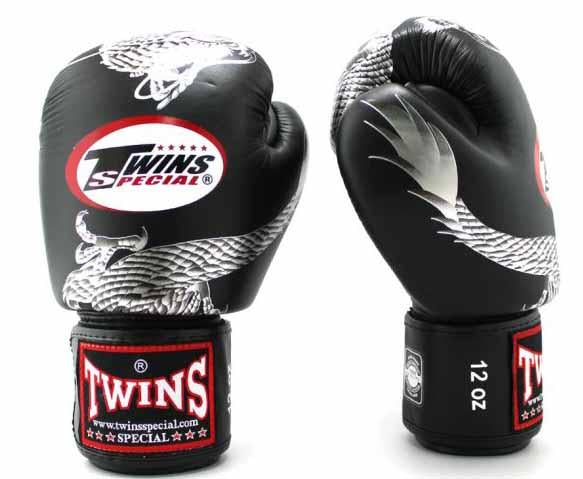 Twins Silver-Black Signature Boxing Gloves - Velcro Wrist - Image 2