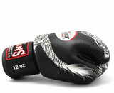 Twins Silver-Black Signature Boxing Gloves - Velcro Wrist - Image 3