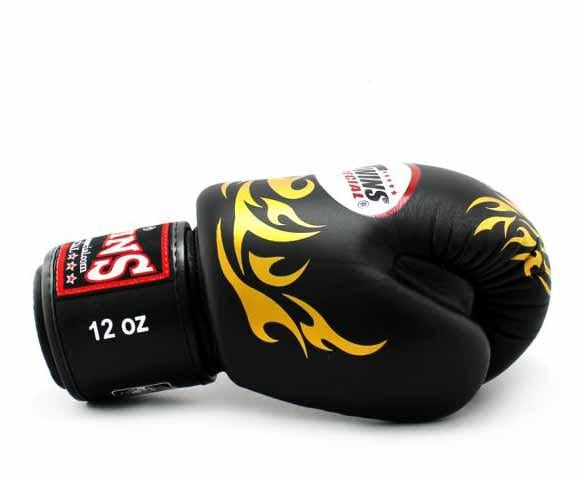 Twins Gold-Black Signature Boxing Gloves - Velcro Wrist