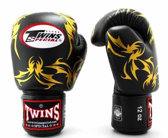 Twins Gold-Black Signature Boxing Gloves - Velcro Wrist - Image 2