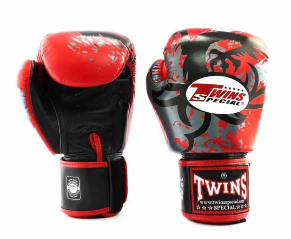 Twins Red Tribal Dragon Boxing Gloves - Velcro Wrist - Image 1