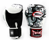Twins White Tribal Dragon Boxing Gloves - Velcro Wrist - Image 1