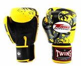 Twins Yellow Tribal Dragon Boxing Gloves - Velcro Wrist - Image 1