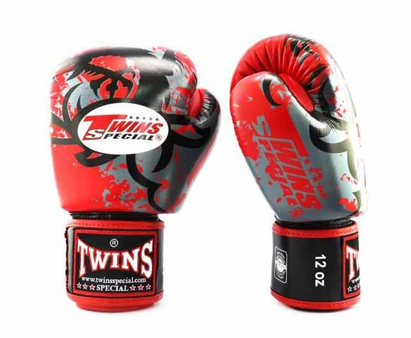 Twins Red Tribal Dragon Boxing Gloves - Velcro Wrist - Image 2
