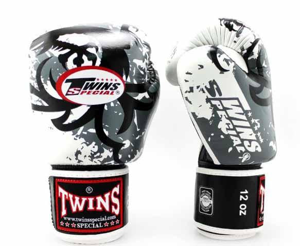 Twins White Tribal Dragon Boxing Gloves - Velcro Wrist