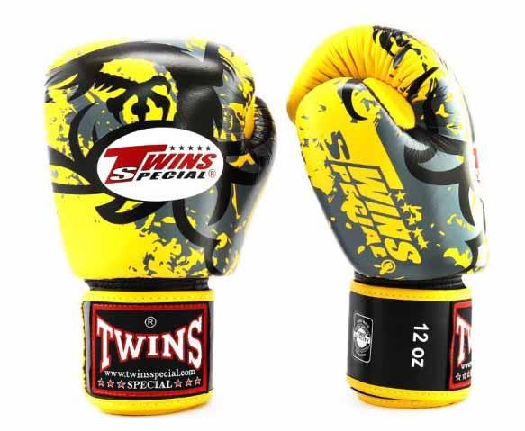 Twins Yellow Tribal Dragon Boxing Gloves - Velcro Wrist - Image 2