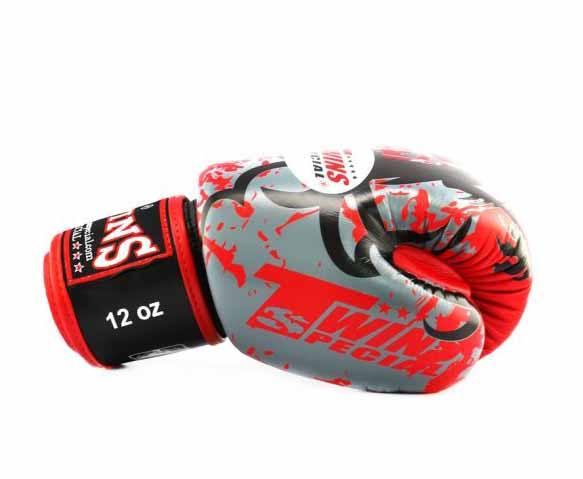 Twins Red Tribal Dragon Boxing Gloves - Velcro Wrist - Image 3