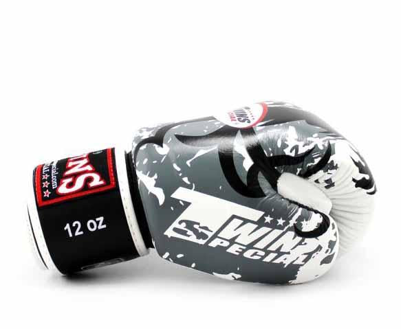Twins White Tribal Dragon Boxing Gloves - Velcro Wrist - Image 3