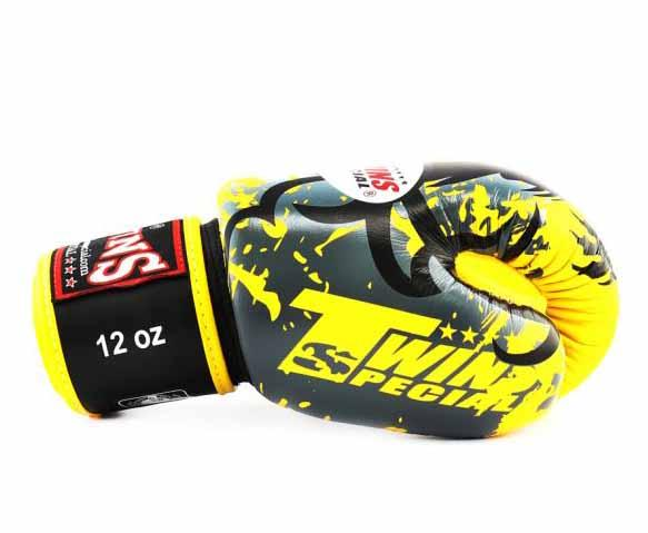 Twins Yellow Tribal Dragon Boxing Gloves - Velcro Wrist - Image 3