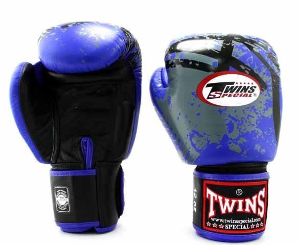 Twins Blue Signature Boxing Gloves - Velcro Wrist - Image 1