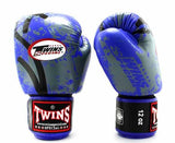 Twins Blue Signature Boxing Gloves - Velcro Wrist - Image 2