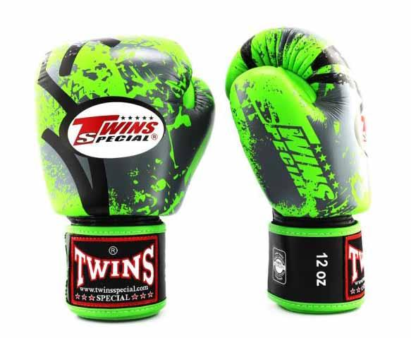 Twins Green Signature Boxing Gloves - Velcro Wrist - Image 2