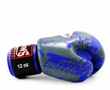 Twins Blue Signature Boxing Gloves - Velcro Wrist - Image 3