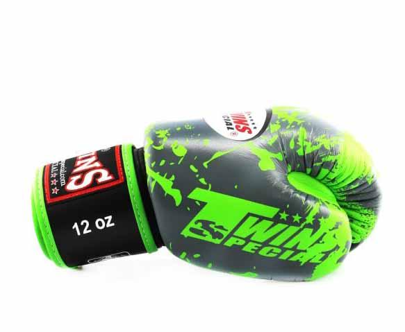 Twins Green Signature Boxing Gloves - Velcro Wrist - Image 3