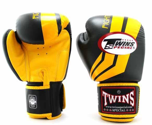 Twins Yellow-Black Signature Boxing Gloves - Velcro Wrist - Image 1